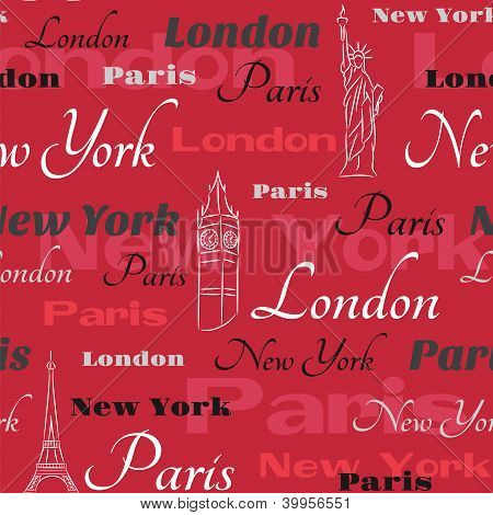 Red vector seamless pattern with cities