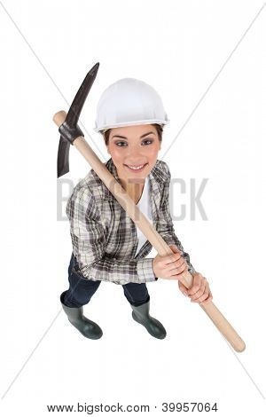 craftswoman holding a pickaxe