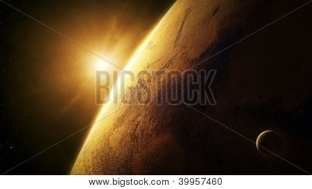 Planet Mars close-up with sunrise in space   (Elements of this image furnished by NASA- texture map  http://visibleearth.nasa.gov)