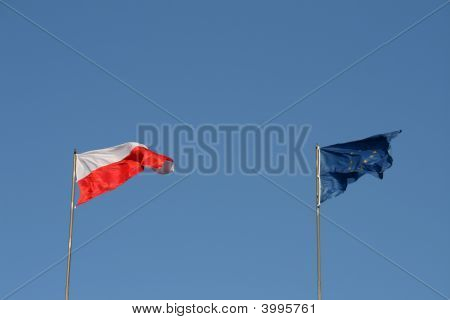 Polish And Eu Flags