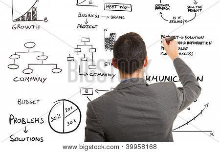 Businessman writing business related concepts