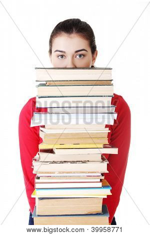 Sad female student with learning difficulties , isolated on white