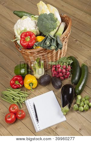 Book with vegetables and basket