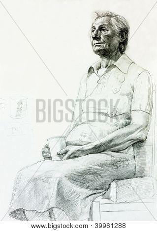 Drawing Of A Senior Woman