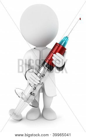3d white people with a medical syringe