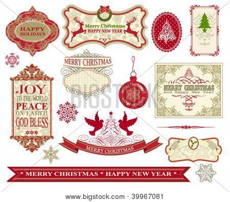 Set of Vintage Merry Christmas and Happy New Year Labels, Baubles, Snowflakes, Messages and Stickers