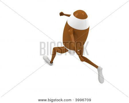 laufenden Rugbyball