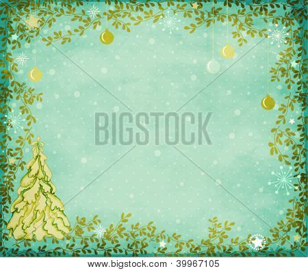 Winter Holidays Greeting Card and Background - Blue-green textured backdrop with snow-covered pine tree, Christmas decoration and green branches frame, with sparkling stars