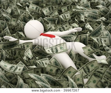 3D Rich Business Man Swimming In Money Ocean