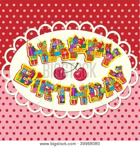 Happy Birthday, Letters Are Made Of Different Gift Boxes And Presents. Oval Frame On Polka Dot Backg