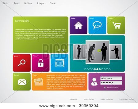 Website Template With Large Icons