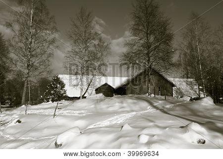 old farm, barn set in rural snowy winter landscape, duplex toning idea
