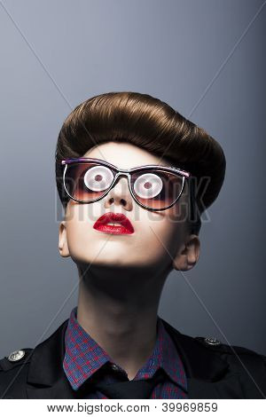 Funny Ridiculous Girl Wearing Comic Sunglasses - Joke