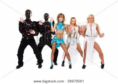Actors Dressed As Angels And Demons Posing