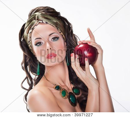 Nutrition. Beauty Woman With Red Apple On White Background - Wholesome Food