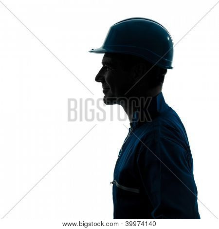 one caucasian man construction worker silhouette portrait in studio on white background