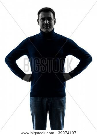 one causasian man smiling friendly  portrait in silhouette studio isolated on white background