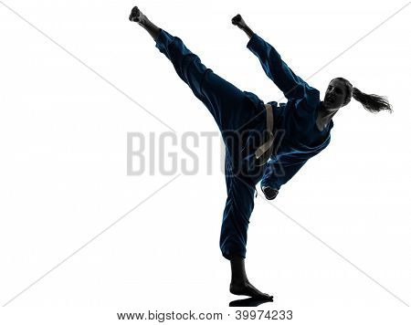 one caucasian woman exercising karate vietvodao martial arts in silhouette studio isolated on white background