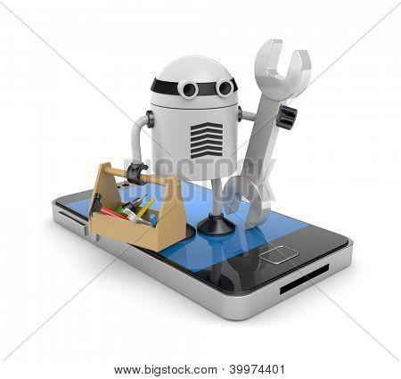 Telemóvel com robô