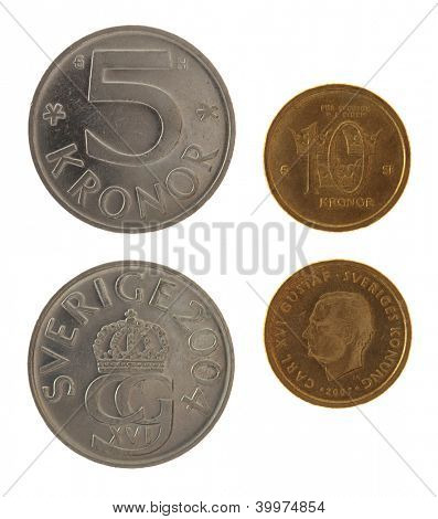 Swedish krona coins depicting Carl XVI Gustaf of Sweden. Obverse and reverse isolated on white.