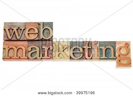 web marketing - isolated text in vintage letterpress wood type blocks