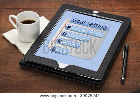 goal setting concept  - PURE (positively stated, understood, ethical) - a diagram on a tablet computer with stylus pen and espresso coffee cup against grunge scratched wooden table
