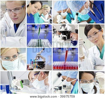 Montaje de una investigación médica o científica equipo hombres y mujeres con microscopios y mirando a prueba