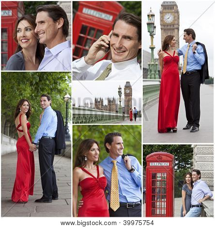 Montage of romantic man and woman couple on vacation seeing the sights and landmarks in London, England, Great Britain
