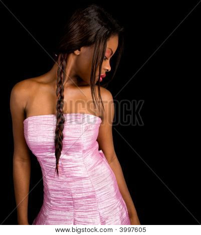 Beautiful African American Lady Looking On Her Side