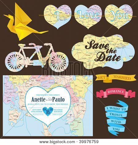 Wedding Decoration Set - for you design, scrapbook, wedding invitation, decor - in vector