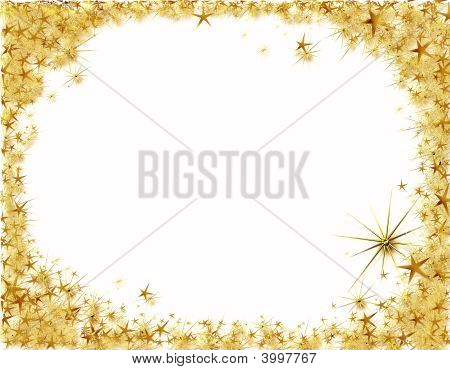 Christmas Frame With Golden Stars