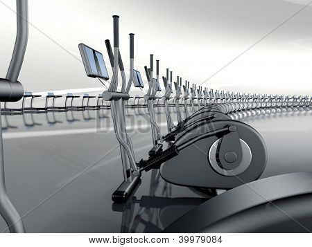 Futuristic huge curved modern gym with many elliptical cross trainer in a row