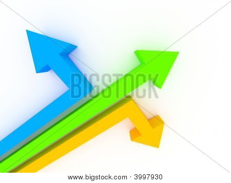 3D Arrows Showing Different Directions