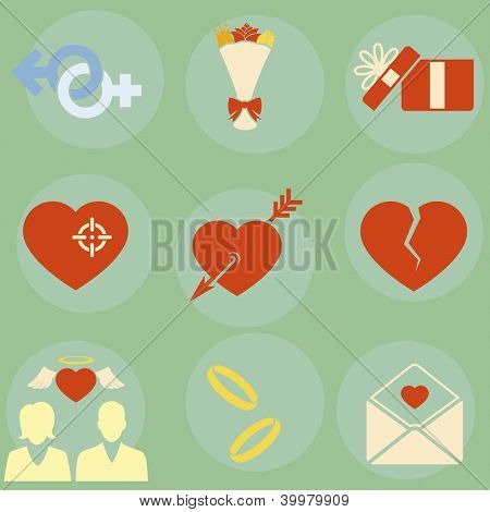 Vector icons on the theme of love