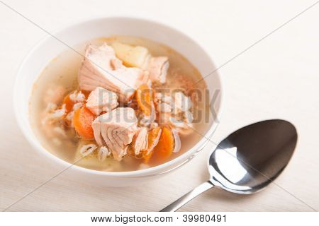 Fish Soup With Salmon And Orge Perl�