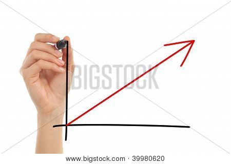 Woman Hand Drawing A Growth Graphic In The Air With A Marker