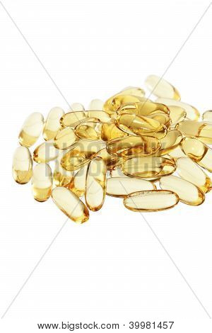 Cod-liver Fish Oil In  Tablets Or Pills Vertical Isolated
