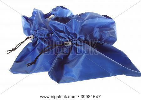 Isolated Blue Shoe Covers On The White Background