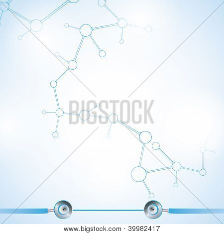 Abstract Molecule Blue White Background