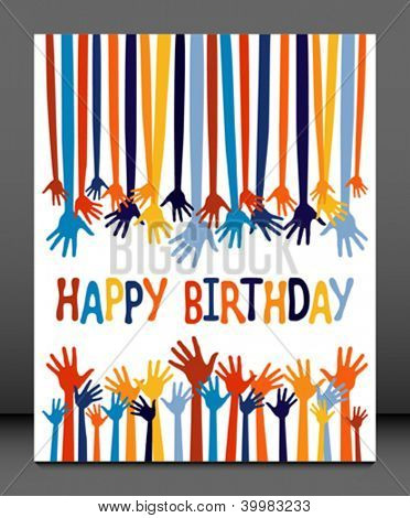 Excited hands birthday card design.