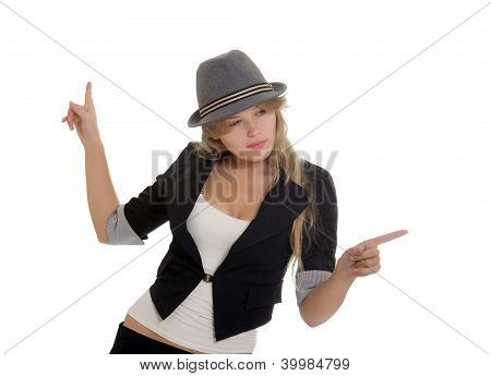 Attractive Businesswoman Pointing Her Fingers