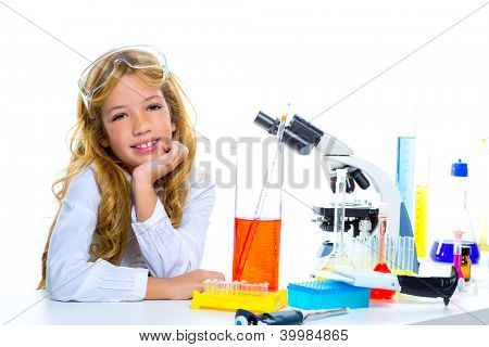 Children student girl in kid chemical laboratory at school on white