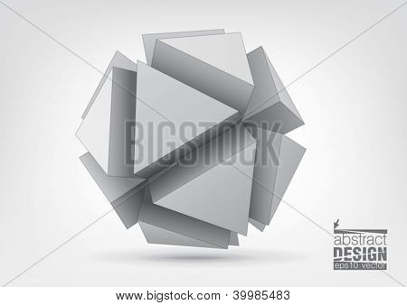 Vector polyhedron with triangular extruded faces for graphic design. You can change colors