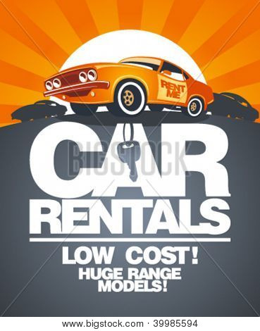 Car rentals design template with retro car.