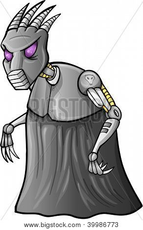 Alien Cyborg Warrior Vector Illustration Art