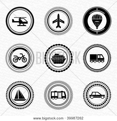 Black retro vintage labels and badges: transportation