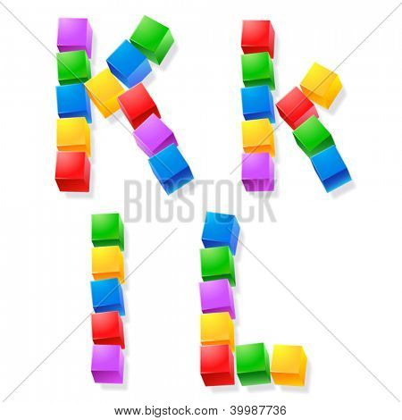 Alphabet of children's blocks. Vector illustration of funny cube font. Letters k l