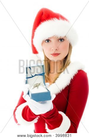 Pretty Girl Dressed As Santa With The Keys