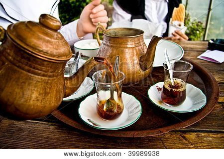 Drinking Traditional Turkish Tea With Friends