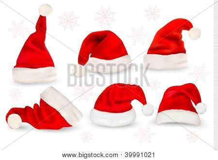 Big collection of red santa hats. Raster version of vector.